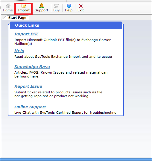 Launch the PST to Exchange converter